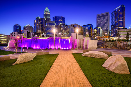 city park skyline: uptown skyline and park in Charlotte, North Carolina, USA Stock Photo