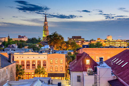town skyline in Charleston, South Carolina, USA