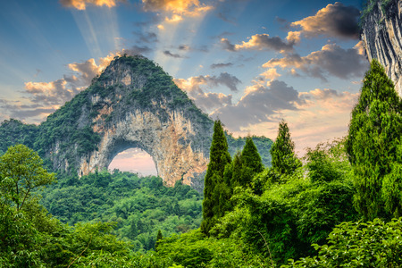 guilin: Moon Hill in Yangshuo, China.