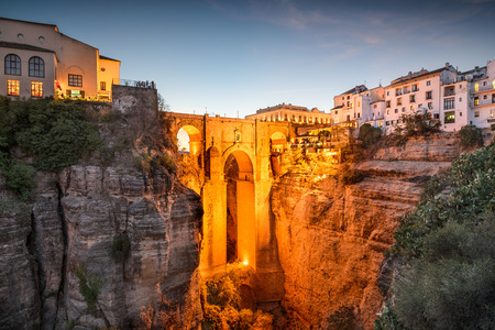 ronda: Ronda, Spain at Puente Nuevo Bridge. Stock Photo