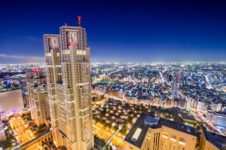 metropolitan: Shinjuku, Tokyo, Japan cityscape at Metropolitan Government Building. Stock Photo