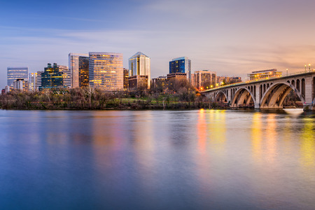night view: Rosslyn, Arlington, Virginia, USA city skyline on the Potomac River. Stock Photo
