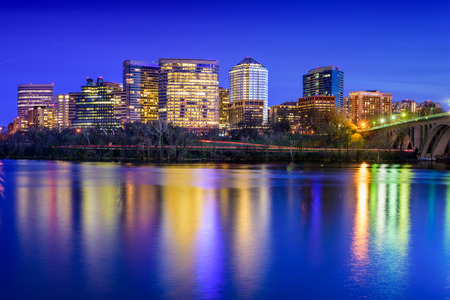 districts: Rosslyn, Arlington, Virginia, USA city skyline on the Potomac River. Stock Photo