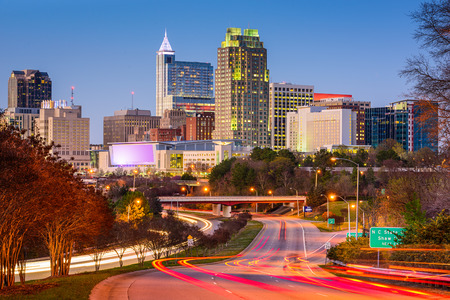 night view: Raleigh, North Carolina, USA downtown city skyline. Stock Photo