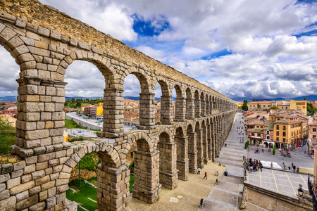 the romans: Segovia, Spain at the ancient Roman aqueduct. Stock Photo