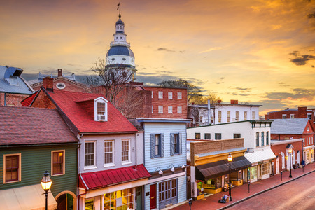 street: Annapolis, Maryland, USA downtown view over Main Street with the State House. Stock Photo