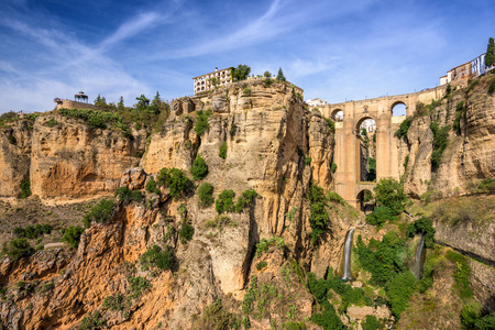 ronda: Ronda, Spain at the Puente Nuevo Bridge. Stock Photo