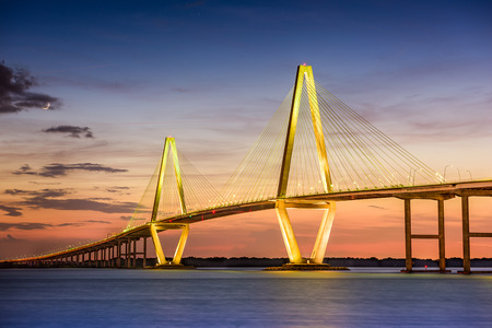 Charleston, South Carolina, USA at Arthur Ravenel Jr. Bridge. Banco de Imagens