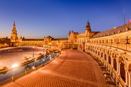 Seville Spain at Plaza de Espana.