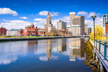 island: Providence, Rhode Island, USA city skyline on the river.