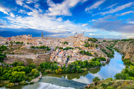 toledo town: Toledo, Spain old town skyline on the Tagus River.