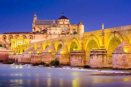 Cordoba, Spanje oude stad skyline in de moskee-kathedraal en de rivier de Guadalquivir.
