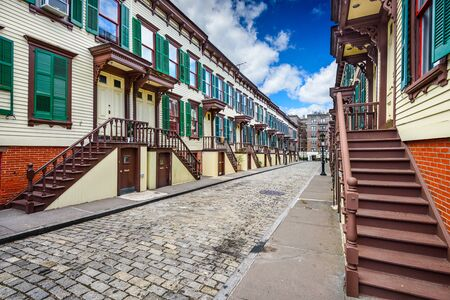 rowhouses: New York City, USA at rowhouses in the Jumel Terrace Historic District. Stock Photo