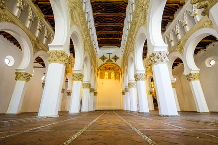 church interior: TOLEDO, SPAIN - NOVEMBER 11, 2014: Santa Maria La Blanca Church. Originally known as the Ibn Shushan Synagogue, it is disputably considered the oldest synagogue building in Europe still standing.