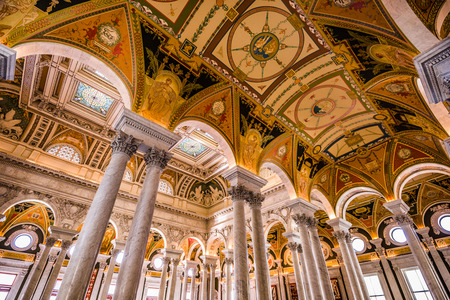 research facilities: WASHINGTON - APRIL 12, 2015: Entrance hall ceiling in the Library of Congress. The library officially serves the U.S. Congress.