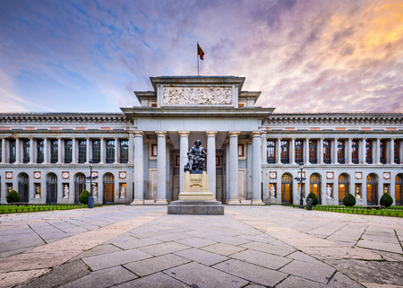 MADRID, SPAIN - NOVEMBER 18, 2014: The Prado Museum facade. Established in 1819, the museum is considered the best collection of Spanish art and one of the worlds finest collections of European art.