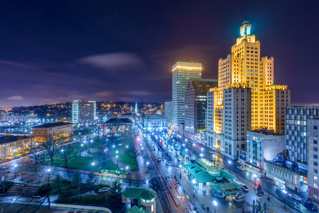 aerial view: Providence, Rhode Island, USA cityscape at night.