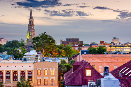and south: Charleston, South Carolina, USA town skyline. Stock Photo
