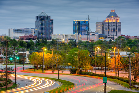 north: Greensboro, North Carolina, USA downtown skyline.