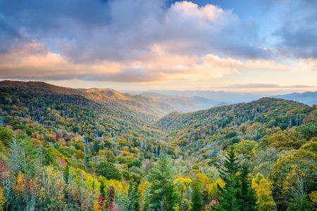 米国テネシー州、グレートスモーキー山脈国立公園の秋の風景。