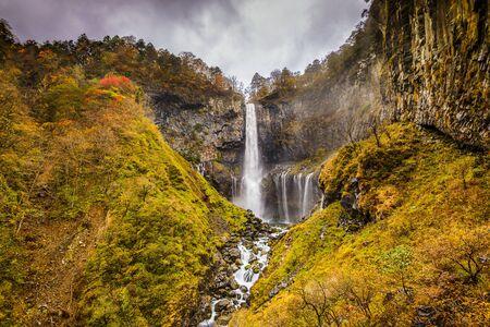 dreary: Nikko, Japan at Kegon Falls. Stock Photo