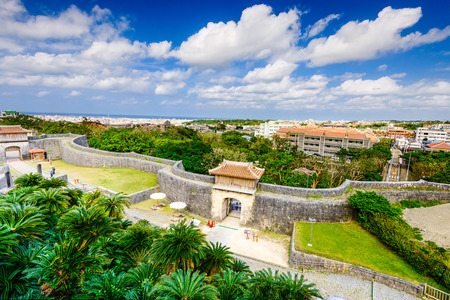 okinawa: Naha, Okinawa, Japan at the outer wall of Shuri Castle. Editorial