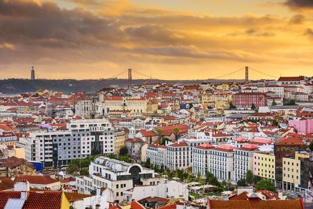 lisboa: Lisbon, Portugal skyline at sunset. Stock Photo