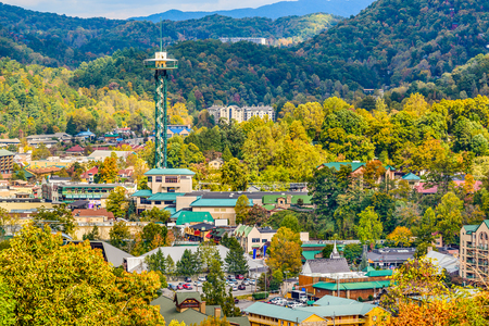space needle: Gatlinburg, Tennessee, USA townscape in the Smoky Mountains.