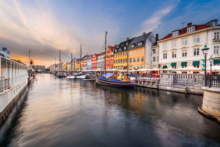 Nyhavn Canal in Copenhagen, Demark. Stock Photo