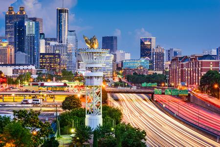 georgia: Atlanta, Georgia, USA downtown skyline over Interstate 85.