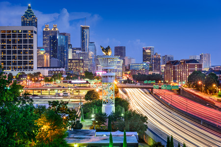 Atlanta, Georgia, USA downtown skyline over Interstate 85. photo