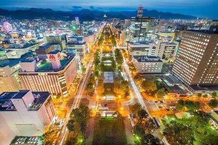 odori: SAPPORO JAPAN  OCTOBER 16 2012: Sapporo cityscape over Odori Park. The city is the larges in Hokkaido.