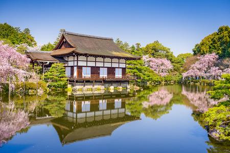 flor de cerezo: Kyoto, Jap�n la primavera en el jard�n de la charca del Santuario de Heian.