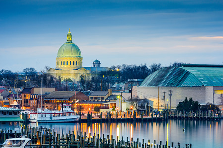 Annapolis in Maryland, USA town skyline at Chesapeake Bay with the United States Naval Academy Chapel dome.