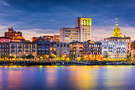usa: Savannah, Georgia, USA downtown skyline.