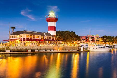 lighthouse at night: Hilton Head in South Carolina, lighthouse at twilight.