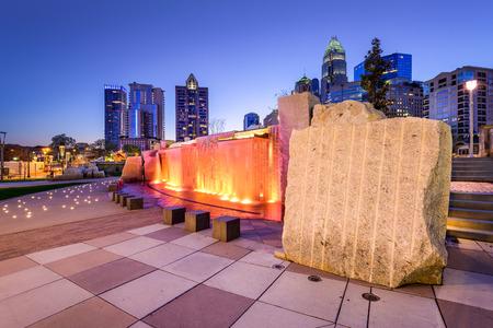 Charlotte in North Carolina, USA uptown skyline and park.