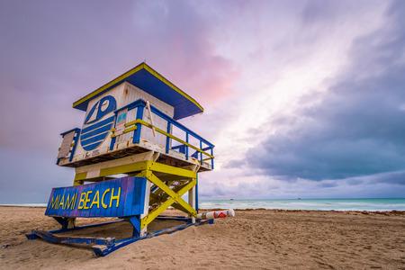 floridian: Miami Beach, Florida, USA life guard tower. Stock Photo
