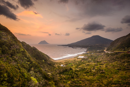 island: Hachijojima Island, Japan coastal landscape. The island is part of the Japanese Izu Islands in the Philippine Sea.