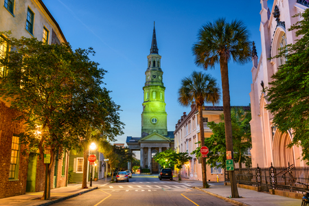 Charleston, South Carolina, USA view of the French Quarter at Twilight. Stock Photo