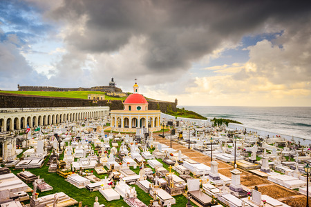 san juan: San Juan, Puerto Rico historic cemetery at Fort San Felipe Del Morro.