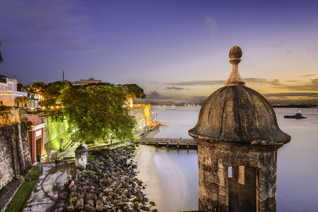 san juan: San Juan, Puerto Rico old city wall  at twilight.