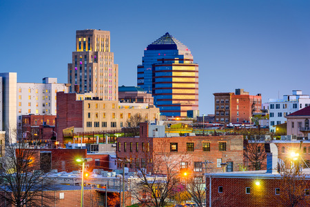 american city: Durham, North Carolina, USA downtown skyline. Stock Photo