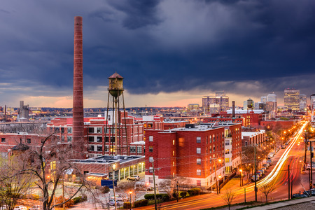 virginia: Richmond in Virginia, USA downtown cityscape over Main Street.
