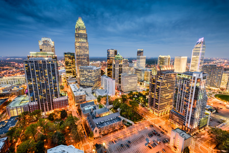 north: Charlotte in North Carolina, USA uptown cityscape.