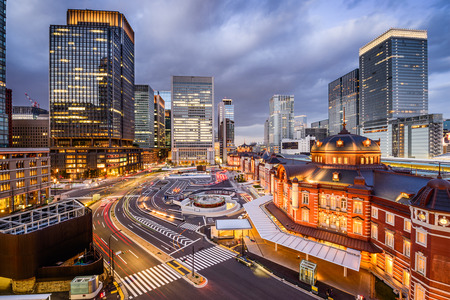 business district: Tokyo, Japan at the Marunouchi business district and Tokyo Station. Stock Photo