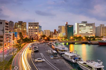 districts: Naha, Okinawa, Japan cityscape at Tomari Port. Stock Photo