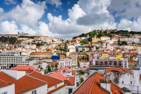 baixa: Lisbon, Portugal old town skyline.