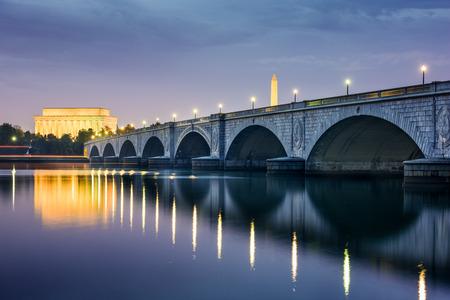 Washington DC, USA skyline on the Potomac River with Lincoln Memorial, Washington Memorial, and Arlington Memorial Bridge.