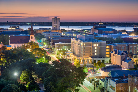 south park: Charleston, South Carolina, USA downtown cityscape. Stock Photo